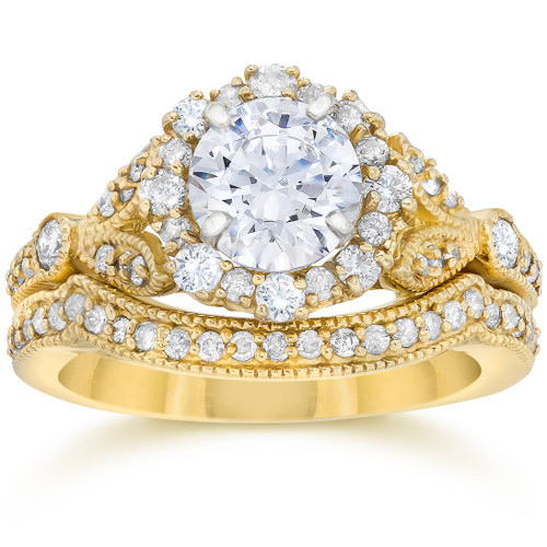 1 1/2ct Enhanced Diamond Engagement Vintage Engagement Ring Matching Yellow Gold (H/I, I1)