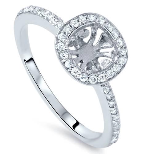 1/3ct Cushion Halo Engagement Ring Setting 14K White Gold (G/H, I1)