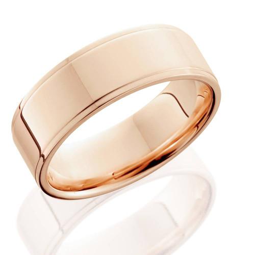 6mm 14K Rose Gold High Polished Step Cut Wedding Band