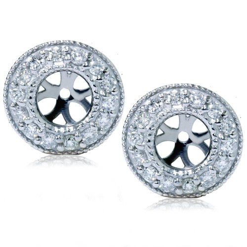 1/2ct Halo Diamond Earring Jackets 14K White Gold (G-H, I1)
