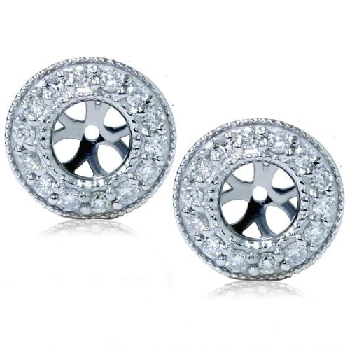 1/2ct Halo Diamond Earring Jackets 14K White Gold (2-5mm) (G-H, I1)