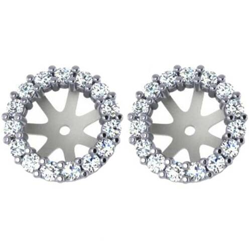 3/4ct Diamond Earring Studs Halo Jackets 14 Kt (6.5-7mm) (G-H, SI)