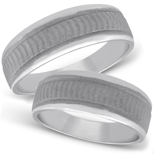 Matching 14K White Gold His Hers Wedding Ring Band Set