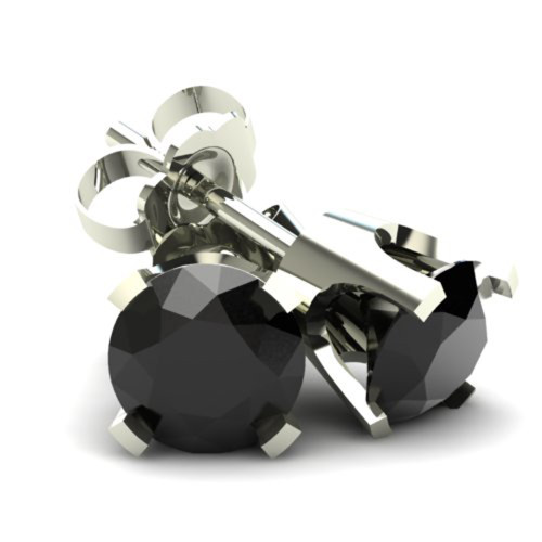 1.25Ct Round Brilliant Cut Heat Treated Black Diamond Stud Earrings in 14K Gold Classic Setting (Black, AAA)
