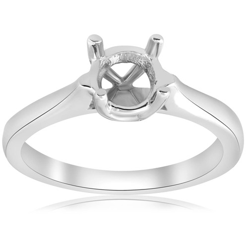 14K White Gold Cathedral Solitaire Mount Engagement Ring Setting