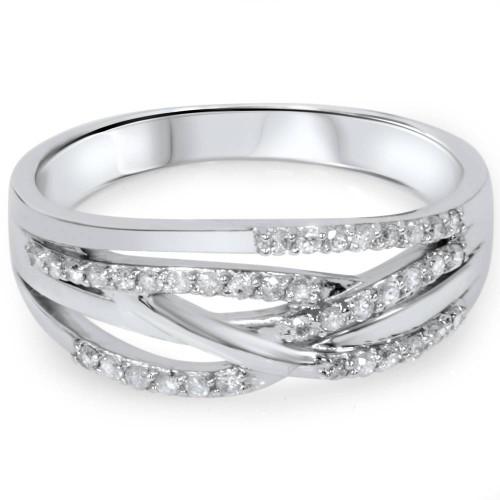 1/5ct Diamond Crossover Ring 10K White Gold (H/I, I2)