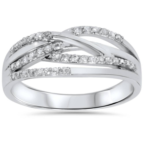1/5ct Diamond Crossover Ring 10K White Gold (H/I, I2)