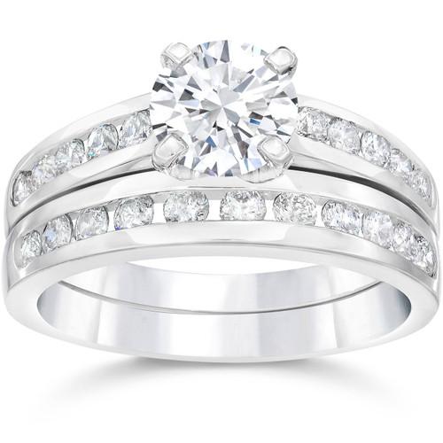 2 Carat Diamond Solitaire Engagement Ring Matching Wedding Band White Gold 14kt (G/H, I1-I2)