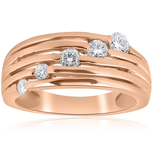 14K Rose Gold 1/2ct Diamond Right Hand Journey Ring (H/I, I1)
