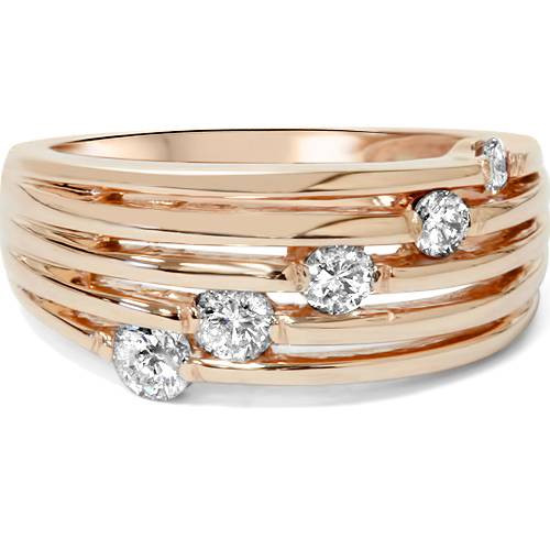 14K Rose Gold 1/2ct Diamond Right Hand Journey Ring (H/I, I1)