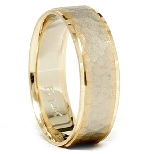 Mens 14K Gold Two Tone Hammered Comfort Wedding Band