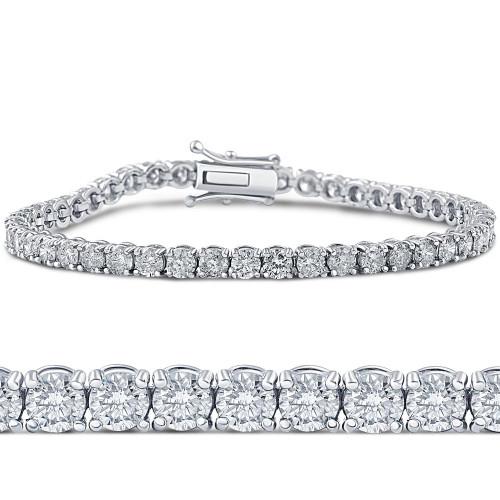 6 1/4ct Lab Grown Diamond Tennis Bracelet 14K White Gold (G, VS)