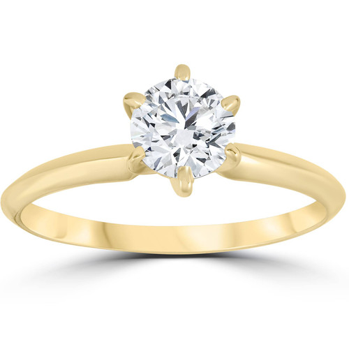 14k Yellow Gold 1ct Round Solitaire Diamond Engagement Ring (I-J, SI(1)-SI(2))