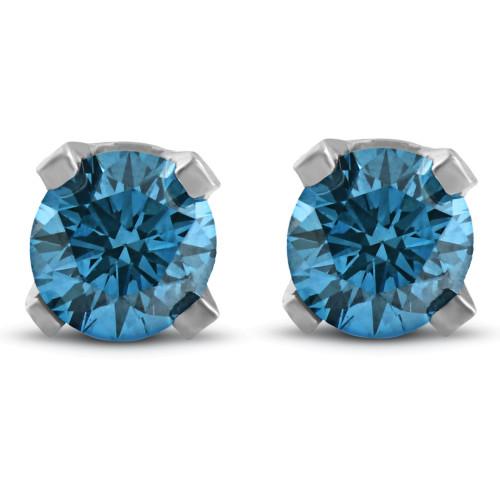 3/8ct Blue Diamond Studs 14K White Gold (Blue, I2-I3)