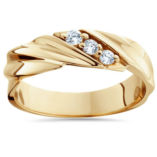 1/10ct Diamond 14K Yellow Gold Mens Wedding Ring (H/I, I2)