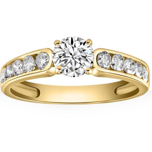 14k Yellow Gold Diamond Engagement Ring 1 1/2 Carat Clarity Enhanced Channel Set (H/I, I1-I2)