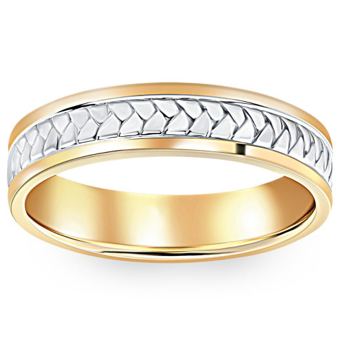 Men's 14k Gold Two Tone Comfort Fit Braided Wedding Band