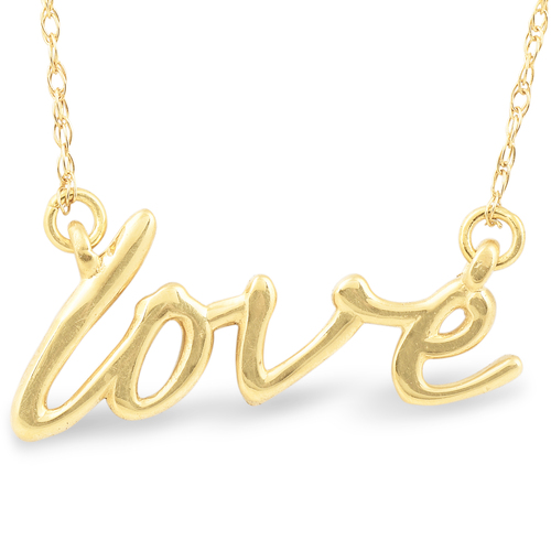 """14K Yellow Gold Love Script Pendant Necklace with 18"""" 14K Yellow Gold Chain"""