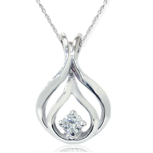 1/10ct Solitaire Diamond Pendant 14K White Gold (G/H, I1)