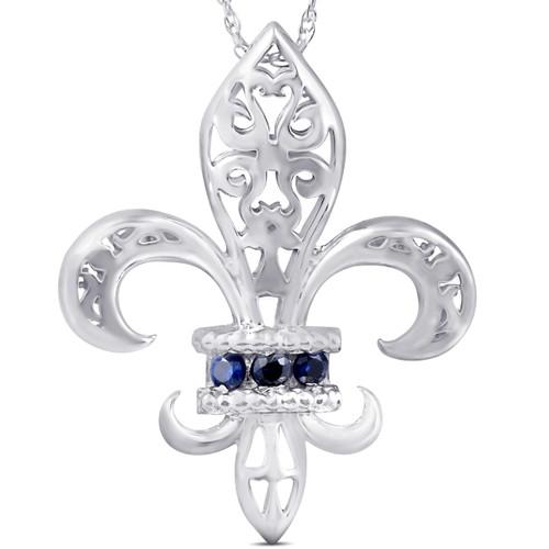 """Blue Sapphire Vintage Fleur De Lis Pendant 10KT White Gold W/ 18"""" Chain 1"""" Tall"""