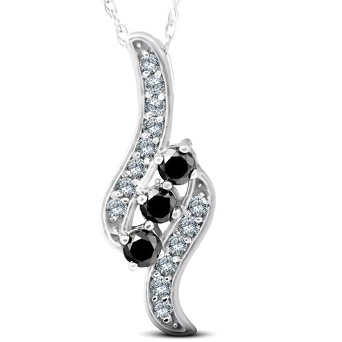 1/3ct 3-Stone Black Diamond Pendant 14 KT White Gold (G/H, I2)