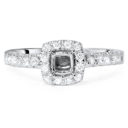 1/2ct Cushion Halo Diamond Ring Semi Mount 14K White Gold (G/H, SI2)