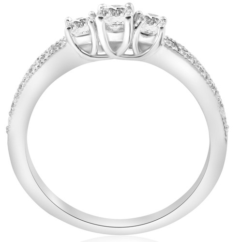1/2ct 3-Stone Round Diamond Ring 14K White Gold (G/H, SI1)