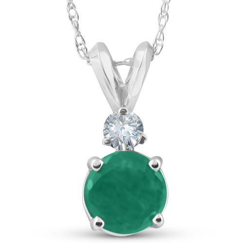 1 1/20ct Genuine Emerald Solitaire Pendant 14K White Gold (G, I1)