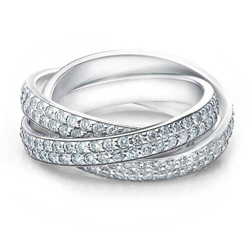 2 3/4ct Rolling Ring Diamond Pave Eternity 14K White Gold (G/H, SI1-SI2)