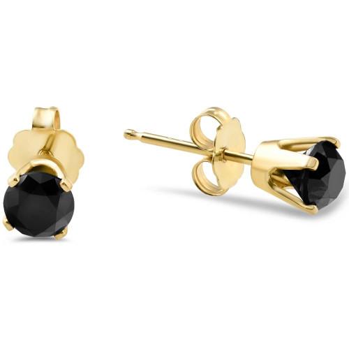 1ct Black Diamond Studs in 14k Yellow Gold (Black, AAA)