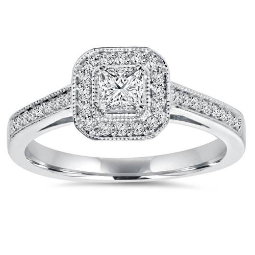 5/8ct Princess Cut Diamond Halo Engagement Ring 14k White Gold (G/H, I1)