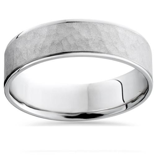 Mens 14K White Gold Flat Hammered Wedding Ring Band
