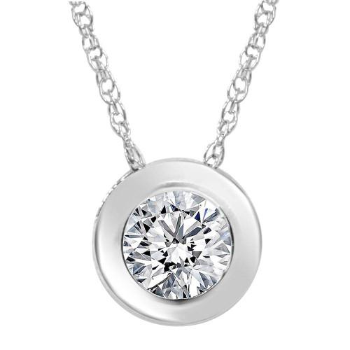 3/4ct  Round Bezel Solitaire Diamond Pendant Necklace 14K White Gold (G, SI2)
