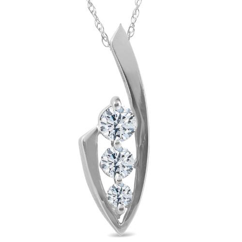 1/2ct Three Stone Diamond 14k White Gold Pendant Necklace (G/H, I1)