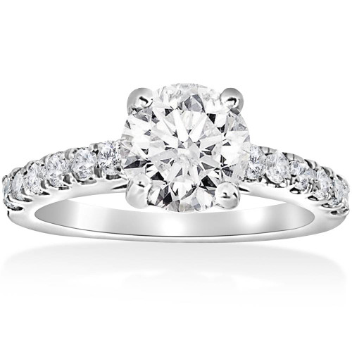 1 1/2 ct Diamond Solitaire With Accents Round Engagement Ring 14k White Gold ((G-H), SI(1)-SI(2))