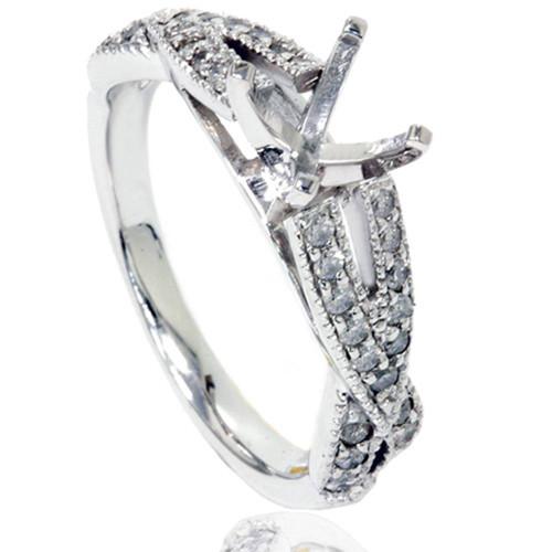 1/2ct Vintage Infinity Diamond Ring Setting 14K White Gold (H/I, I2-I3)