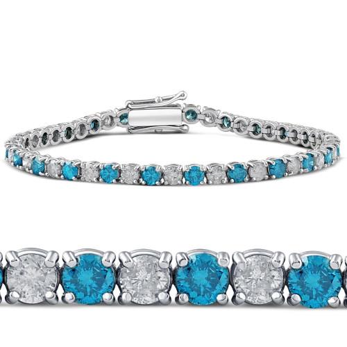 "8ct Blue & White Diamond Tennis Bracelet 14K White Gold 7"" (G/H, I1)"
