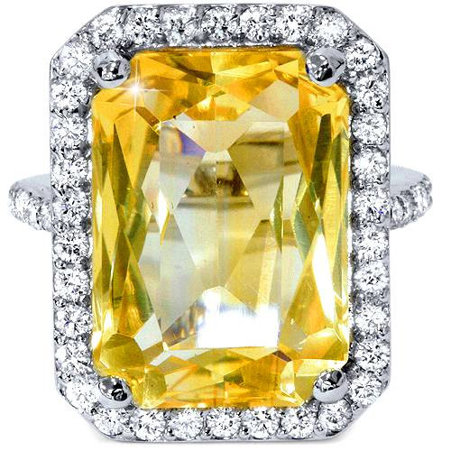 9 3/8ct Emerald Citrine Diamond Vintage Halo Ring 14K White Gold (G-H, VS)