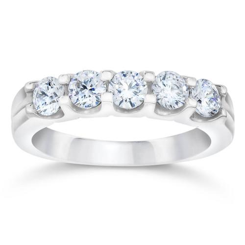 3/4ct U Shape Five Stone Diamond Wedding Ring 14K White Gold (I/J, I2-I3)