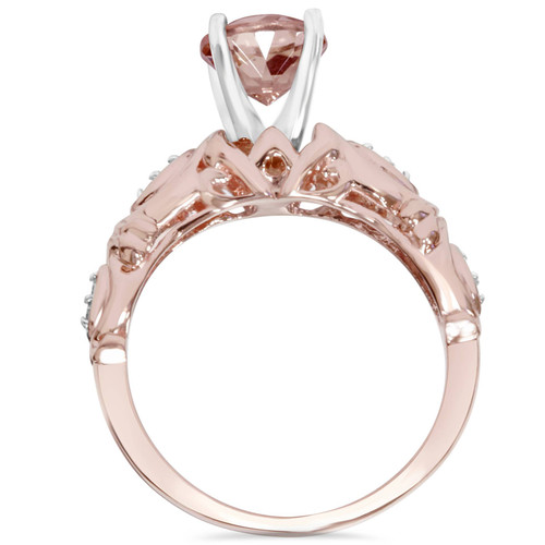 1 Carat Morganite & Diamond Vintage Ring 14K Rose Gold (H/I, I1-I2)