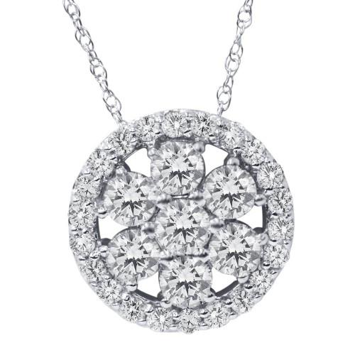 1 ct Diamond Halo Pendant 14K White Gold (G/H, I1-I2)