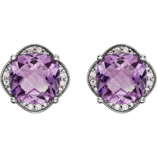 Large Amethyst & Diamond Vintage 4.25CT Halo Studs Womens Earrings White Gold (H-I, I1-I2)