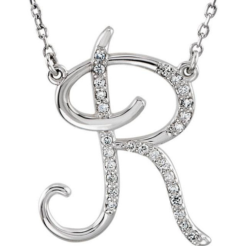 "1/4ct Diamond ""R"" Initial Pendant 18"" Necklace 14K White Gold (G/H, I2)"