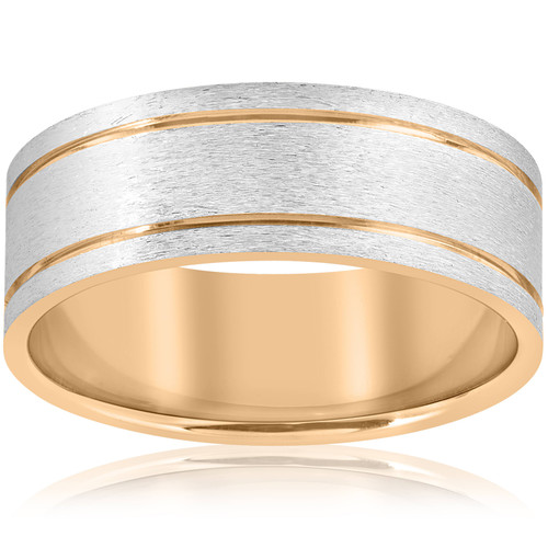 14K White & Yellow Gold Two Tone Mens Comfort Fit 8mm Wedding Band