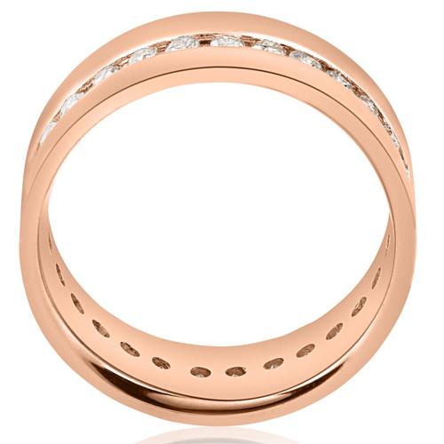 1 1/10CT Diamond Eternity Mens Ring 14K Rose Gold (I, I1)