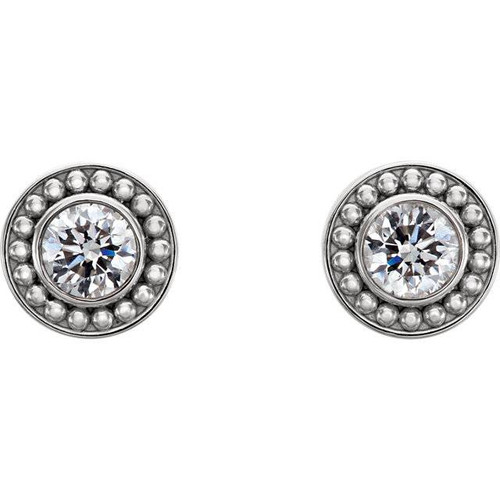 .55CT Diamond Bezel Studs Vintage Milgrain Accent 14K White Gold (H-I, I1-I2)