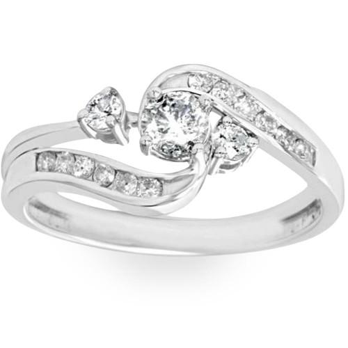 1/2ct Twist Diamond Engagement Wedding Ring Set 14K White Gold (G/H, I2-I3)