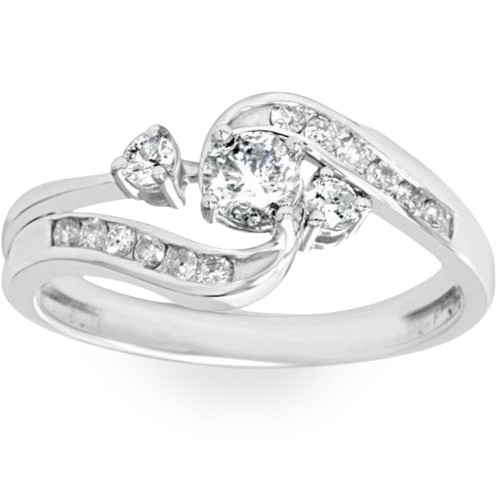 1/2ct Twist Diamond Engagement Wedding Ring Set 14K White Gold (G/H, I2-I3)