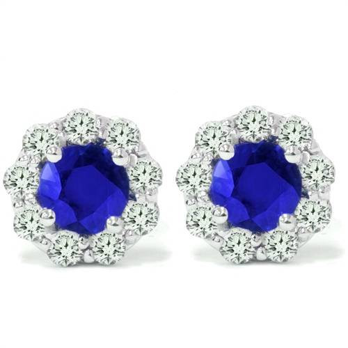 2 1/2ct Blue Sapphire & Diamond Studs 14K White Gold (G/H, I1)