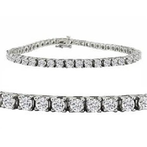 8 TCW 14k White Gold Round Diamond Tennis Bracelet (G, VS)